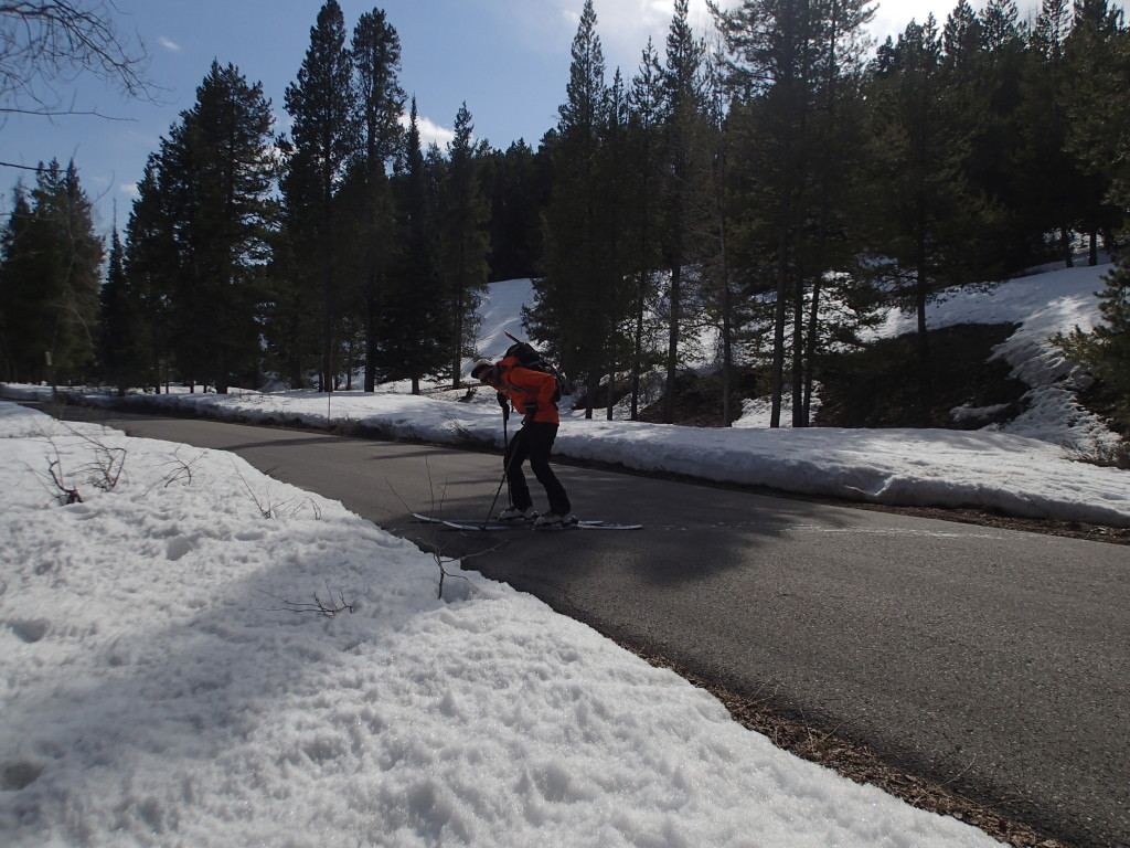 Spring skiing sometimes means pavement walking!
